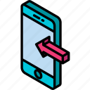 device, function, incoming, iso, isometric, smartphone icon