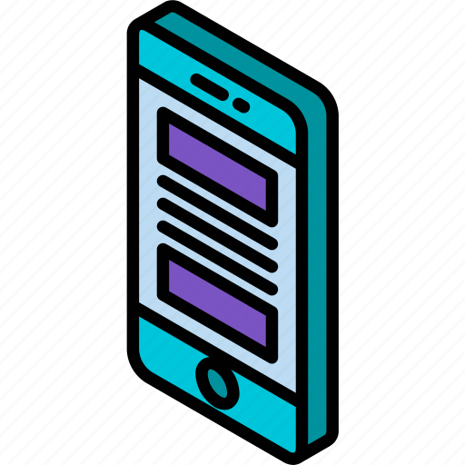 device, function, iso, isometric, layout, smartphone icon