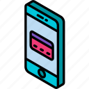 function, isometric, smartphone, credit, iso, device, card icon