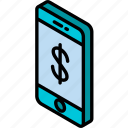 device, dollar, function, iso, isometric, smartphone icon