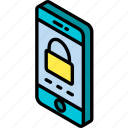 device, function, iso, isometric, locked, screen, smartphone icon