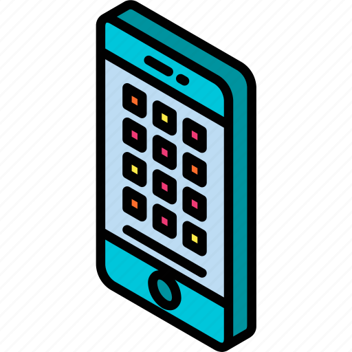 apps, device, function, iso, isometric, smartphone icon