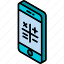 calculator, device, function, iso, isometric, smartphone icon