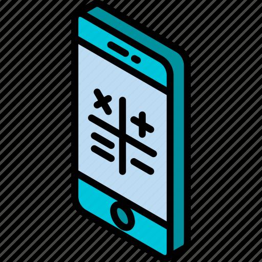 calculator, device, function, iso, isometric, smartphone icon