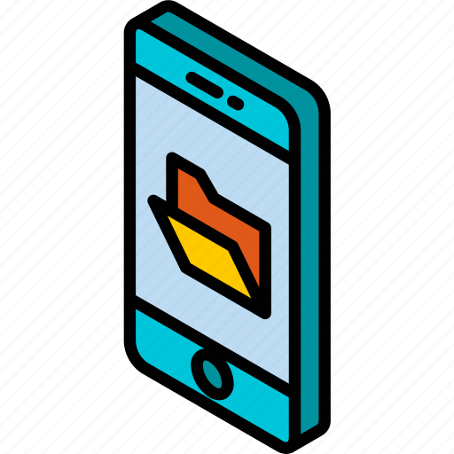 device, folder, function, iso, isometric, smartphone icon