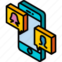 conversation, device, function, iso, isometric, smartphone, video icon