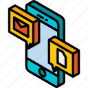 conversation, device, files, function, iso, isometric, smartphone icon