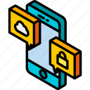 conversation, device, function, iso, isometric, smartphone icon