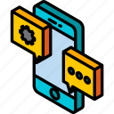 conversation, device, function, iso, isometric, smartphone icon