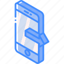 device, function, iso, isometric, outgoing, smartphone icon