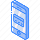 card, credit, device, function, iso, isometric, smartphone icon