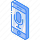 device, function, iso, isometric, microphone, smartphone icon