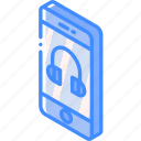 device, function, headphones, iso, isometric, smartphone icon