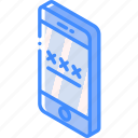 device, function, iso, isometric, lock, screen, smartphone icon