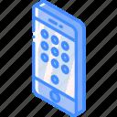 device, function, iso, isometric, keypad, smartphone icon