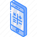 function, isometric, smartphone, calculator, iso, device