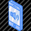 device, function, iso, isometric, smartphone, volume icon