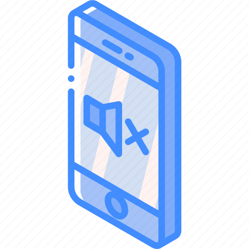 device, function, iso, isometric, mute, smartphone icon