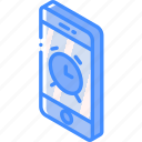 alarm, device, function, iso, isometric, smartphone icon