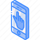device, function, iso, isometric, smartphone, touch icon