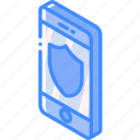 device, function, iso, isometric, sheild, smartphone icon