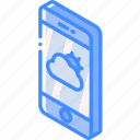 device, function, iso, isometric, smartphone, weather icon