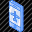 aeroplane, device, function, iso, isometric, mode, smartphone icon