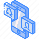 conversation, device, function, iso, isometric, smartphone, video icon
