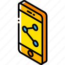 device, function, iso, isometric, share, smartphone icon