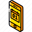 calendar, device, function, iso, isometric, smartphone icon