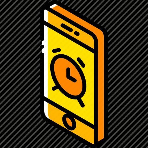 alarm, device, function, iso, isometric, smartphone icon