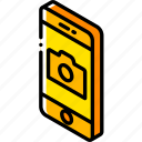 camera, device, function, iso, isometric, smartphone icon