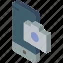 camera, device, function, iso, isometric, smartphone