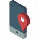 device, function, iso, isometric, location, smartphone icon