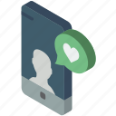 device, function, iso, isometric, like, message, smartphone icon