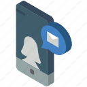 device, function, iso, isometric, mail, message, smartphone icon
