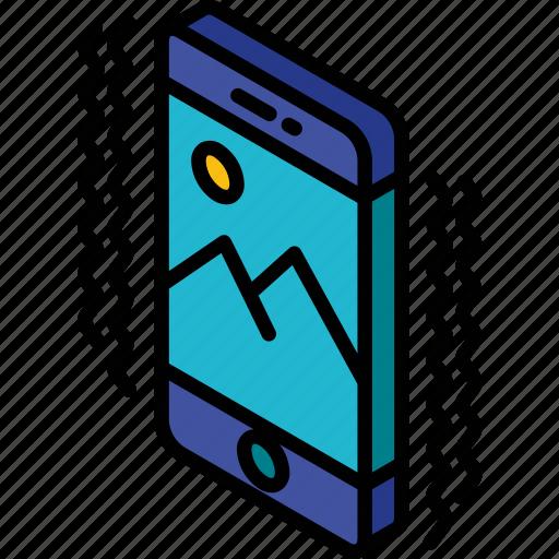 device, function, iso, isometric, ringing, smartphone icon