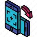 device, function, iso, isometric, picture, rotate, smartphone icon