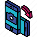 camera, device, function, iso, isometric, rotate, smartphone icon