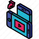 device, function, iso, isometric, rotate, smartphone, video icon