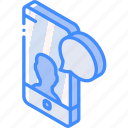 device, function, iso, isometric, message, profile, smartphone icon