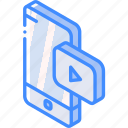 device, function, iso, isometric, smartphone, video icon