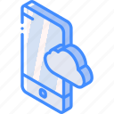 function, isometric, smartphone, iso, device, cloud