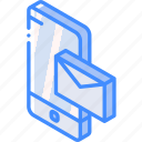 device, function, iso, isometric, mail, smartphone icon
