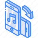 device, function, iso, isometric, music, rotate, smartphone icon