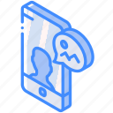 device, function, image, iso, isometric, message, smartphone icon