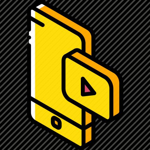 device, function, iso, isometric, smartphone, video icon