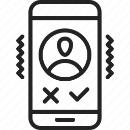 accept, app, call, deny, incoming, mobile, vibrating icon