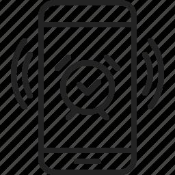alarm, app, clock, mobile, phone, sound, vibrating icon