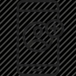 add, app, mobile, phone, profile, user icon